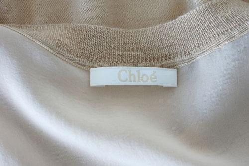 Chloe Twinset Nude Cashmere Silk Semi Sheer Rear M nwt - mightychic
