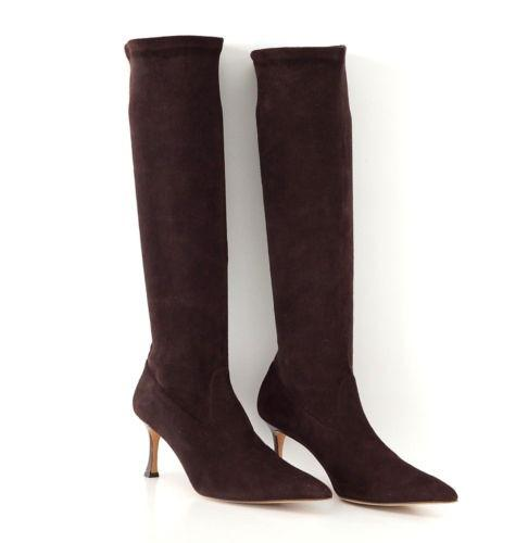 Manolo Blahnik Boot Stretch Suede Chocolate Knee High 39.5 / 9.5 new