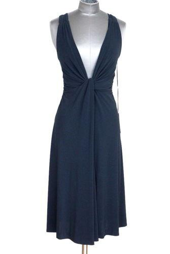 Alberta Ferretti Dress Navy Plunging V  38 / Fits 2 to 4 New