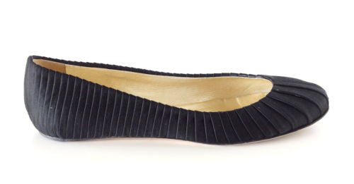 Valentino Shoe Ballet Flat Black Pleated Satin  39 / 9