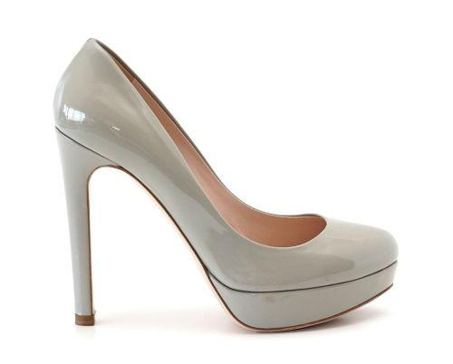 MIU MIU Shoe patent leather pump pearl gray platform 37 / 7