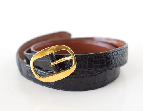 Hermes Belt Vintage Black Crocodile Gold Buckle