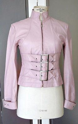 Herve Leger Jacket Pale Pink Moto Leather Great Hardware  36 / 4