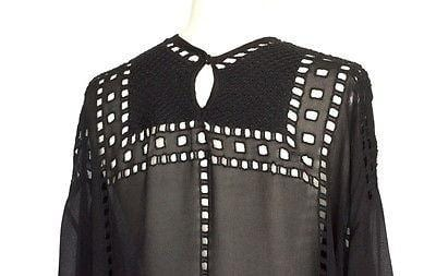 Isabel Marant Etoile Top Black Tunic Style Broderie Anglaise Detailed 38 / 6 - mightychic