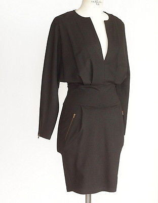 Stella McCartney Dress plunging V flattering shaping zipper pockets 38 / 4 - mightychic