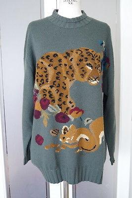 KRIZIA Sweater gorgeous leopard and creatures vintage 44 / 10
