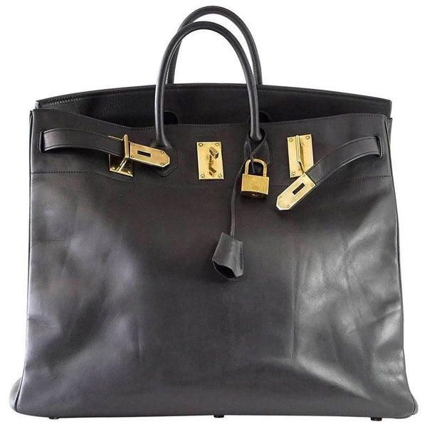 Hermes Birkin 50 Bag HAC Men's Black Vache Noir Leather Brass Hardware