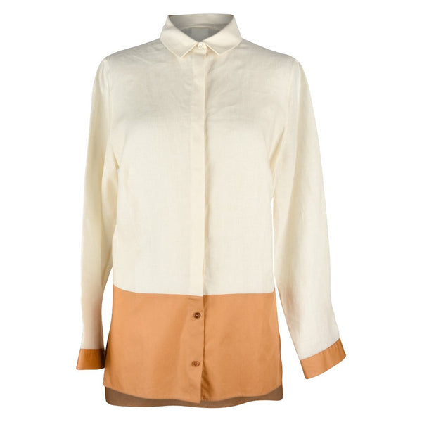 Akris Top Shirt Tunic Bone and Butterscotch 8