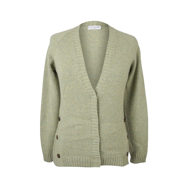Brunello Cucinelli Sweater Cashmere Cardigan Leather Patch Elbow  L