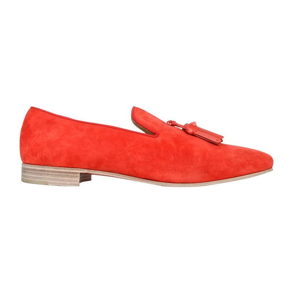 Christian Louboutin Men's Beautiful Red Suede Loafer Spike Tassels 42 / 9