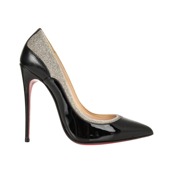 Christian Louboutin Shoe Pigalle Black w/Glitter 110mm 35 / 5 - mightychic