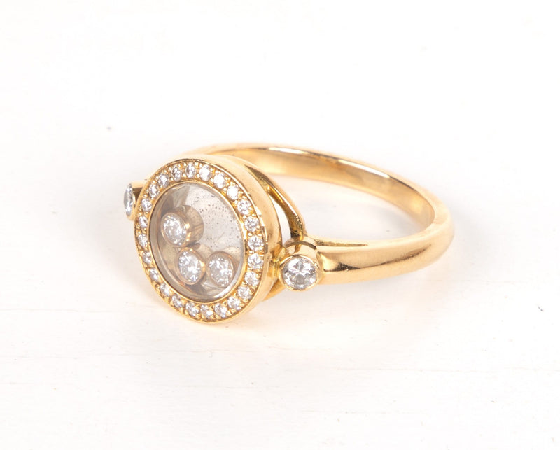 Chopard Ring Round Happy Diamond Floating Diamonds 18k Yellow Gold - mightychic