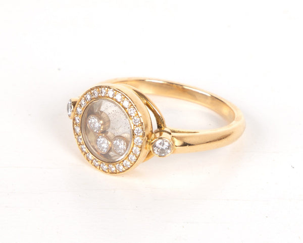 Chopard Ring Round Happy Diamond Floating Diamonds 18k Yellow Gold