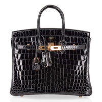 Hermes Birkin 25 Bag Black Crocodile Lisse Gold Hardware