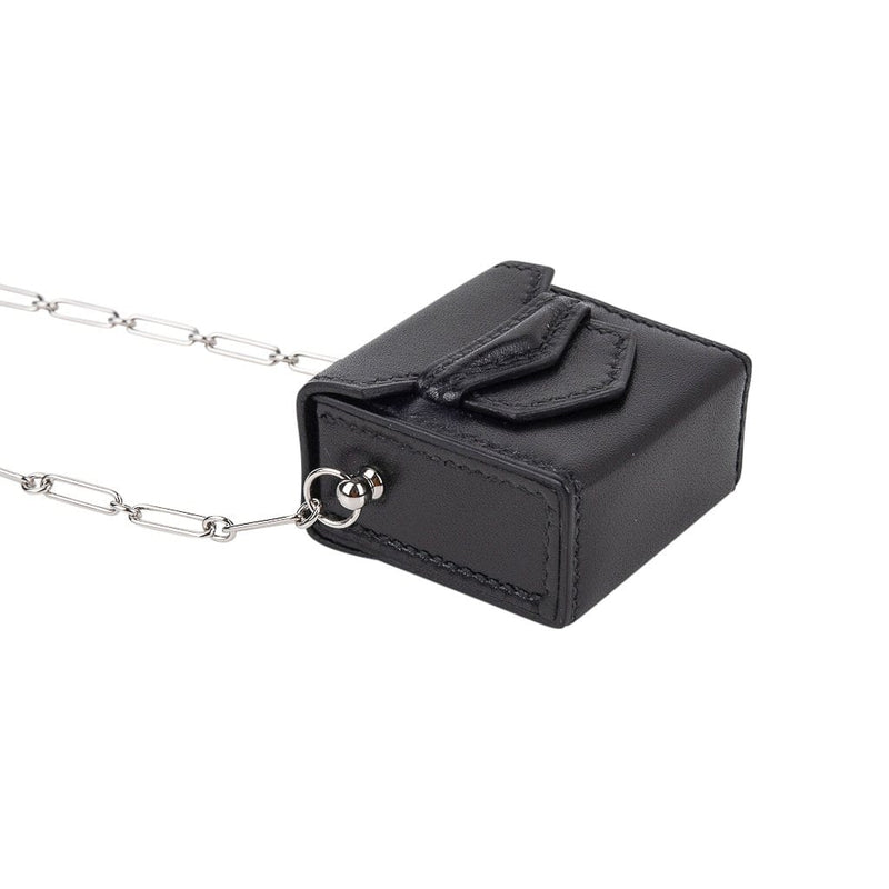 Hermes Micro Sac 46mm Noir Villandry Palladium Paper Clip Chain Limited Edition