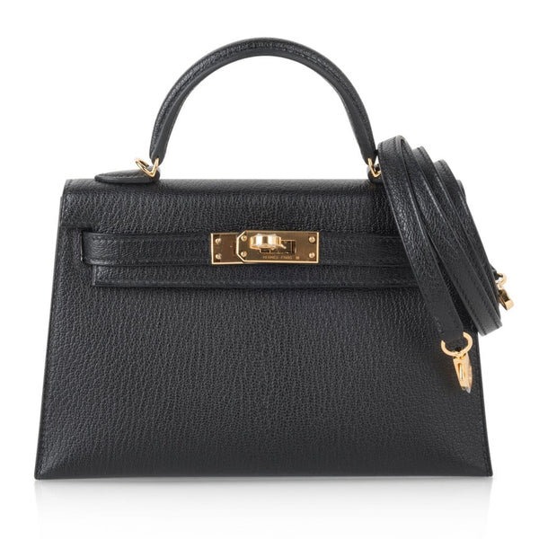 Hermes Kelly 20 Mini Kelly II Black Chevre Gold Hardware Limited Edition