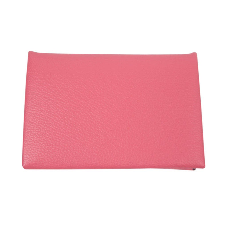 Hermes Calvi Rose Azalee Chevre Mysore Leather Card Holder - mightychic