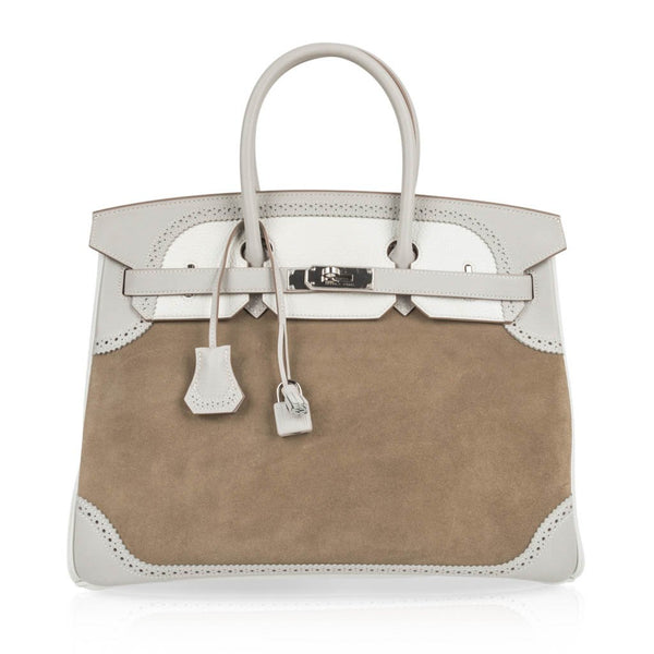 Hermes Birkin 35 Bag Grizzly Ghillies Gris Perle Gris Caillou  Colour Limited Edition Rare