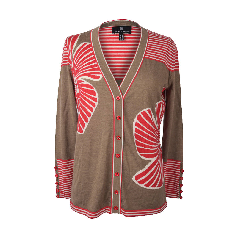 Rena Lange Sweater Cardigan Large Abstract Flowers Stripes Buttons  M