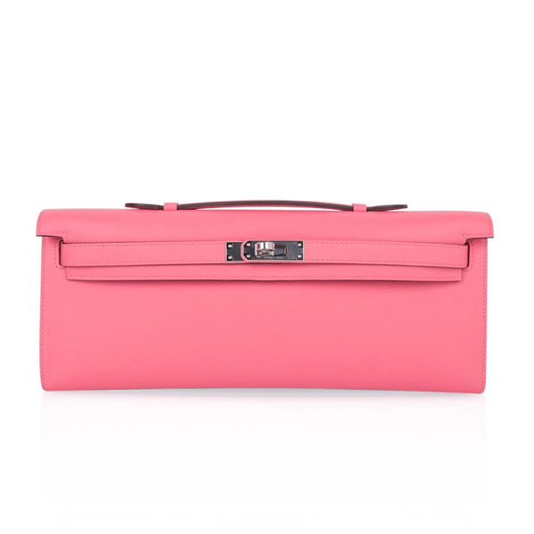Hermes Kelly Cut Bag Pink Rose Azalee Clutch Swift Palladium Hardware New