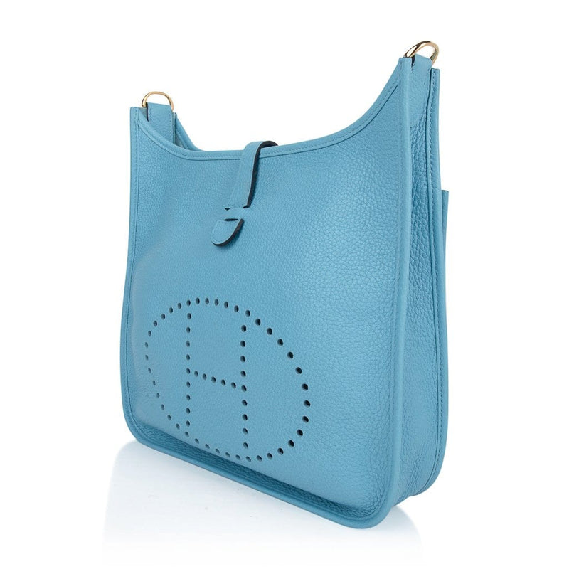 Hermes Evelyne PM Bag Blue De Nord Clemence Gold
