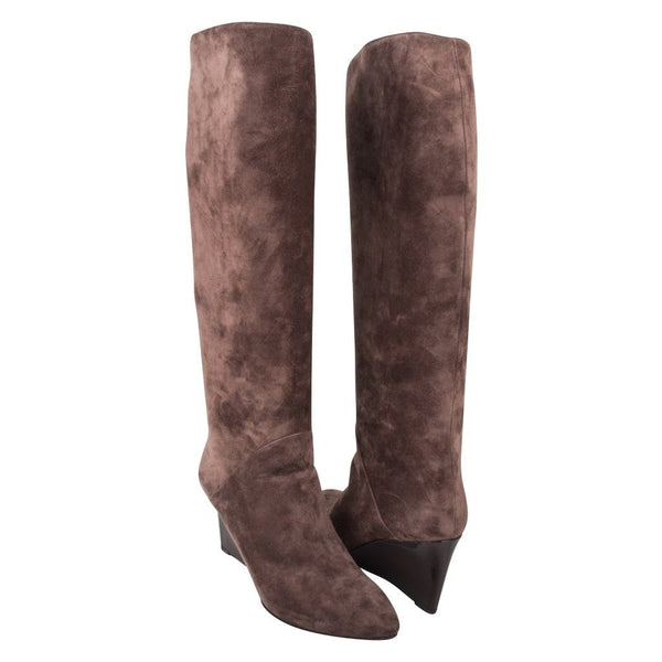 Bottega Veneta Boot Patent Wedge Suede Knee High Unique Taupe Colour 39 / 9