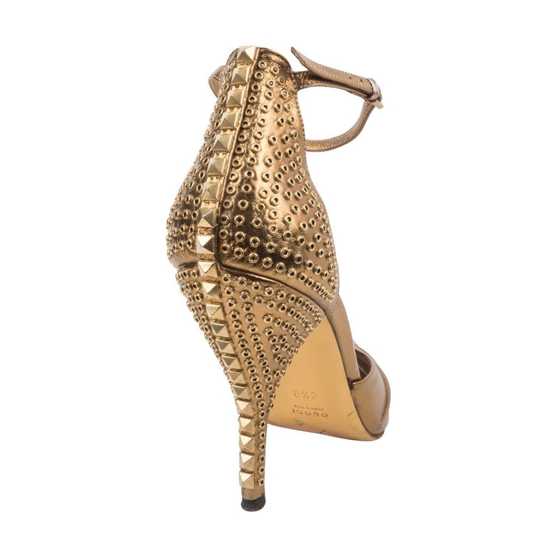 Gucci Shoe Gold Ankle Strap Studded Heel 8.5