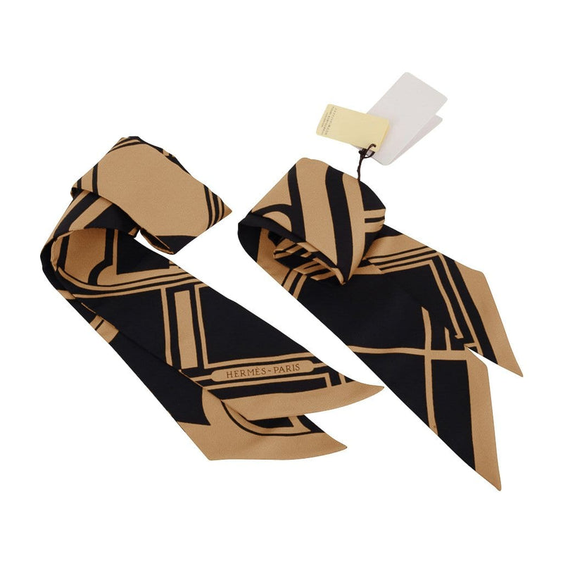 Hermes Twilly Les Coupes Tattoo Silk Scarf Camel / Noir Set of 2