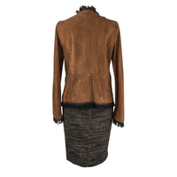 Dolce&Gabbana Skirt Suit Suede and Tweed Leather Buttons 42 / 8