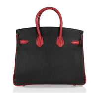 Hermes Birkin HSS 25 Bag Noir / Rouge Casaque Chevre Brushed Gold Hardware