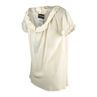 Giorgio Armani Top Winter White Silk Ruffles 46 NWT