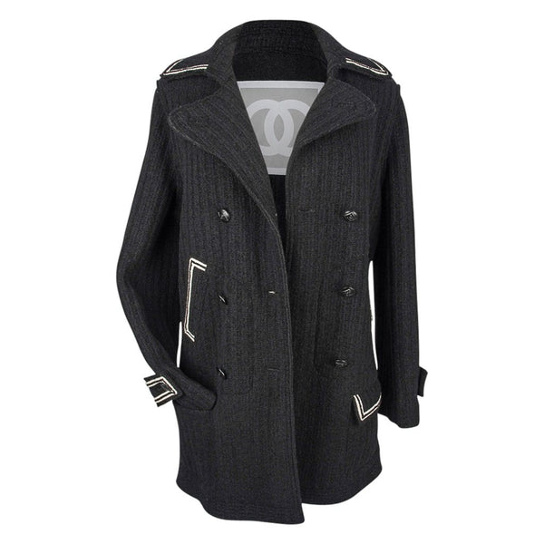 Chanel 07A Coat Modern Pea Coat Style Great Buttons 44 / 10