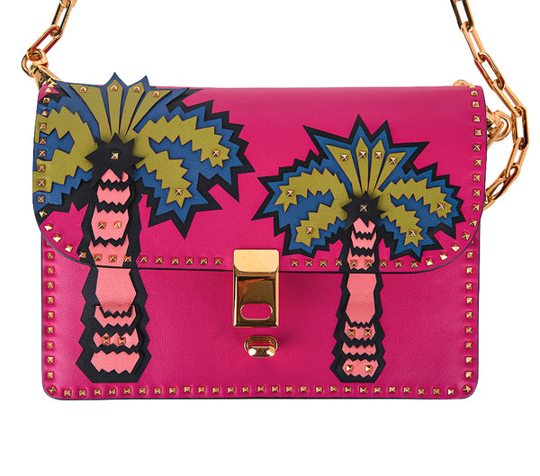 Valentino Bag Fuchsia Bag Leather Appliques Gold Rock Studs