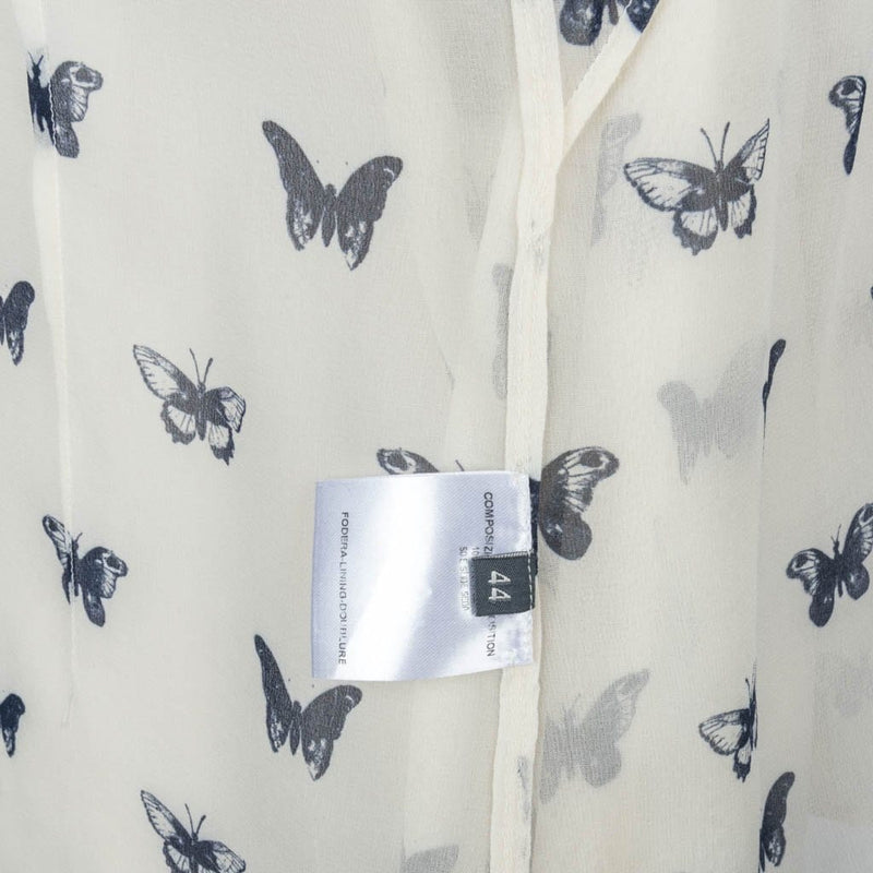 Alexander McQueen Top Semi Sheer Silk Butterfly Print Blouse 44 / 8 - mightychic