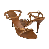 Gucci Sandal Shoes Caramel Leather Bamboo Rose Gold Hardware  7.5