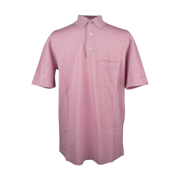 Hermes Men's Embroidered Polo Shirt Rose Clair Cotton Short Sleeve M
