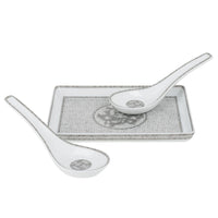 Hermes Soup Spoon Mosaique Au 24 Porcelain Platinum Set of 2