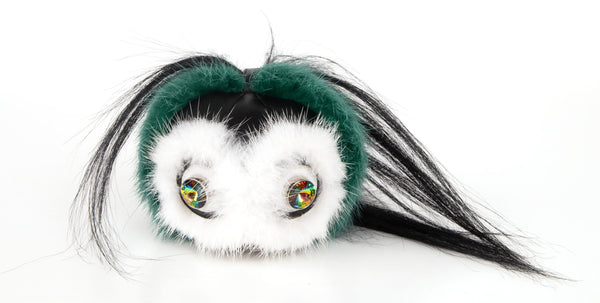 Fendi Monster Fur Bag Bugs Charm w/ Beak Green Multicolor Keychain - mightychic