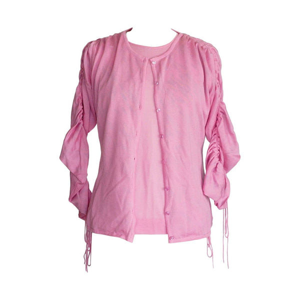 Sweater Twinset Pink Cashmere Silk $3500 SO Soft  48