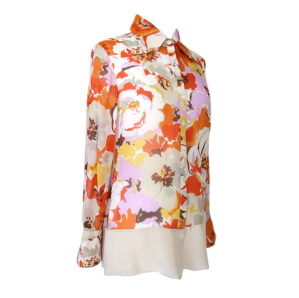 Valentino Top Beautiful Lush Flowers Print Silk Blouse  10 - mightychic
