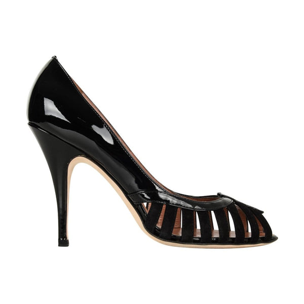 00a753aff88d1 ... Giuseppe Zanotti Shoe Suede and Patent Cutout Detail Peep toe 39 / 9 -  mightychic ...