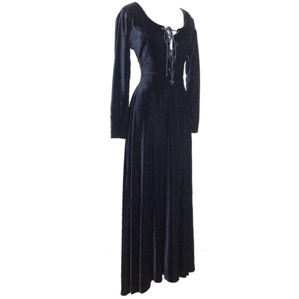 Hermes Dress Vintage Black Velvet Plunging V English Riding Influence 40 / 6 Divine - mightychic