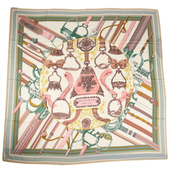 Hermes Scarf Shawl Duo d'Etriers Cashmere and Silk 140cm Equestrian Print