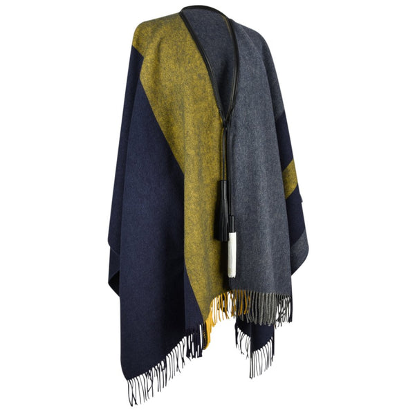 Hermes Poncho Unisex Casaque General Purpose in Indigo New - mightychic