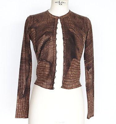 John Galliano Sweater Brown Crocodile Print Cashmere Cardigan S