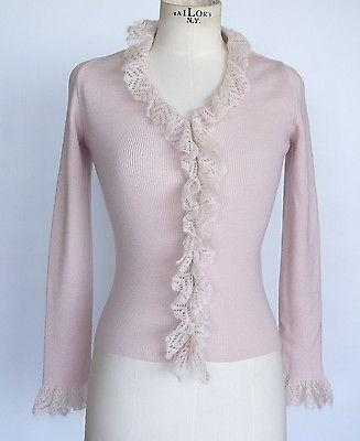 MOSCHINO Sweater dusty pink charming delicate ruffle vintage cardigan  42 / 6