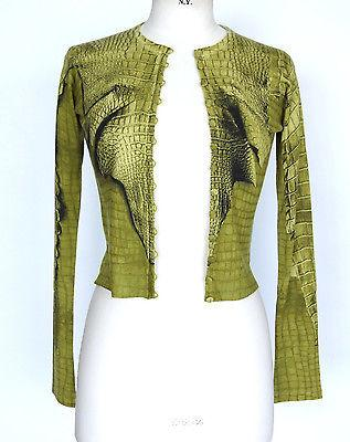 John Galliano Sweater Cardigan Chartreuse Crocodile S
