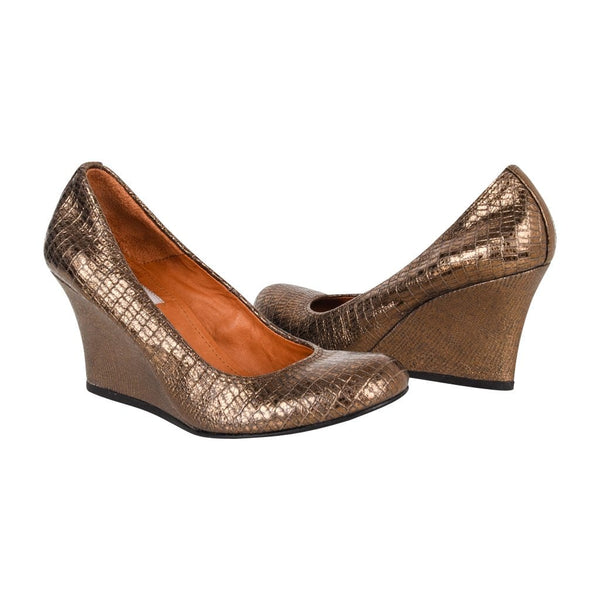 Lanvin Shoe Wedge Bronze Metallic Pump 38.5 / 8.5 New