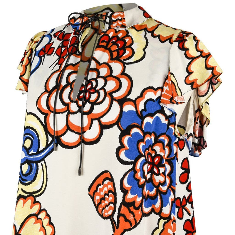 Louis Vuitton Top 2015 Floral Key Hole Ruffle Sleeve 40 / 6 - mightychic
