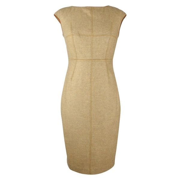 Magaschoni Dress Camel w/ Leather Trim Sheath 4